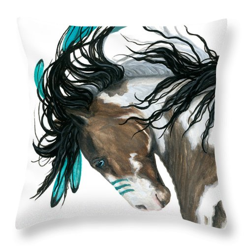 Turquoise Throw Pillow featuring the painting Majestic Turquoise Horse by AmyLyn Bihrle