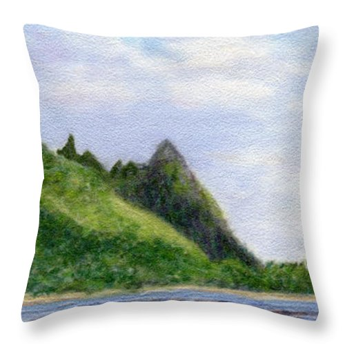 Rainbow Colors Pastel Throw Pillow featuring the painting Makana Reflection by Kenneth Grzesik