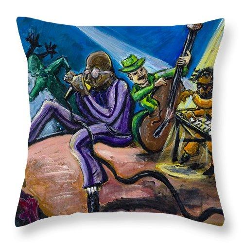 Jazz Music Art Black Musician Throw Pillow featuring the painting Make It Funky by Jason Gluskin