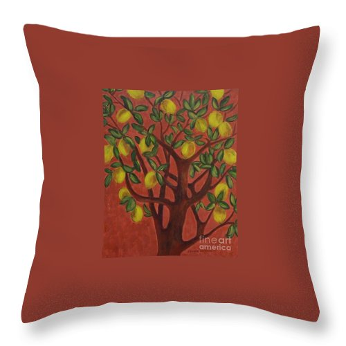 Lemon Throw Pillow featuring the painting Make Lemon Aid by Jeanie Watson