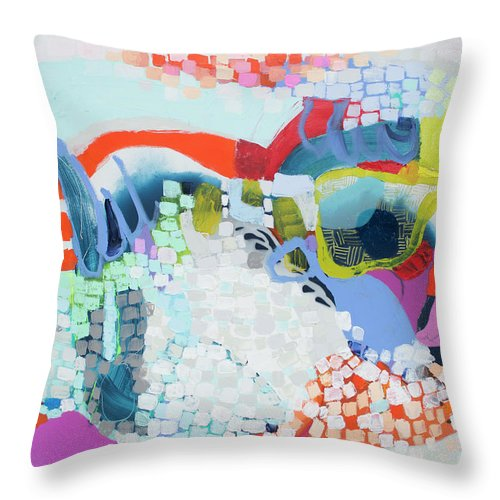Abstract Throw Pillow featuring the painting Make Some Noise by Claire Desjardins