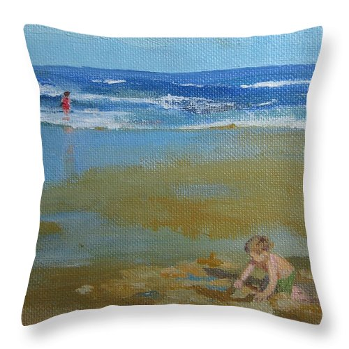 Leslie Mcgrath Throw Pillow featuring the painting making castles on Salisbury Beach by Leslie Alfred McGrath