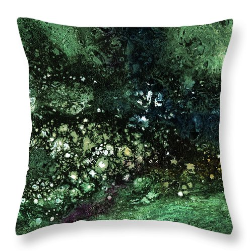 Green Throw Pillow featuring the mixed media Malachite- Abstract Art By Linda Woods by Linda Woods