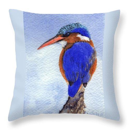Bird Throw Pillow featuring the painting Malachite Kingfisher by Lynn Quinn