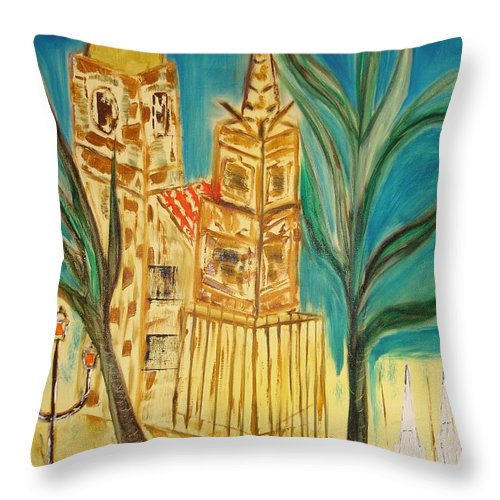Spain Throw Pillow featuring the painting Malaga by Roger Cummiskey