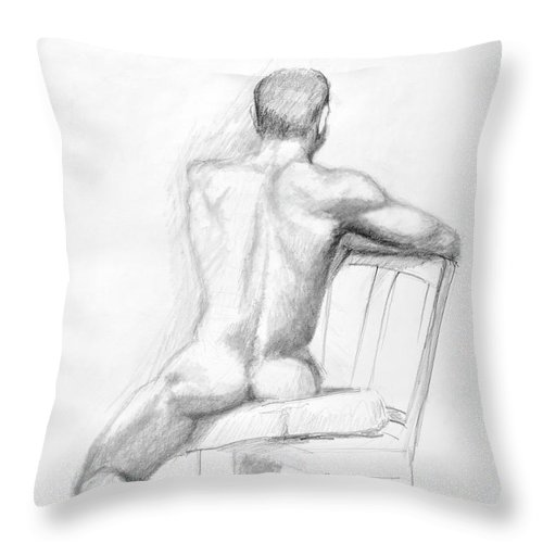 Male Throw Pillow featuring the drawing Male Nude With Chair by Keith Burgess