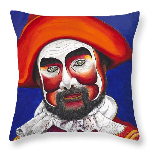 Pirate Throw Pillow featuring the painting Male Pirate Carnival Figure by Patty Vicknair