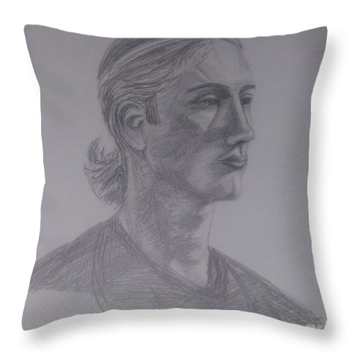 Male Throw Pillow featuring the drawing Male Portrait Sketch by Emily Young
