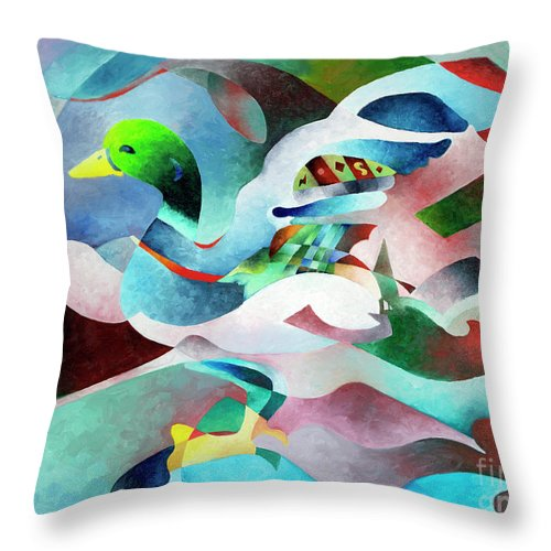 Duck Throw Pillow featuring the painting Mallard by Sally Trace