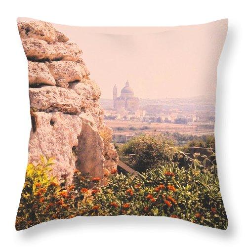 Malta Throw Pillow featuring the photograph Malta Wall by Ian MacDonald
