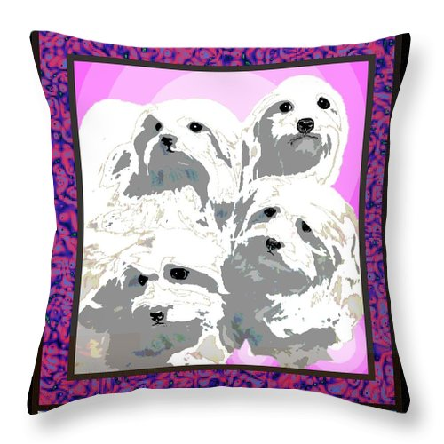 Maltese Group Throw Pillow featuring the digital art Maltese Group by Kathleen Sepulveda