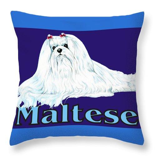 Maltese Throw Pillow featuring the digital art Maltese Pop Art by Kathleen Sepulveda