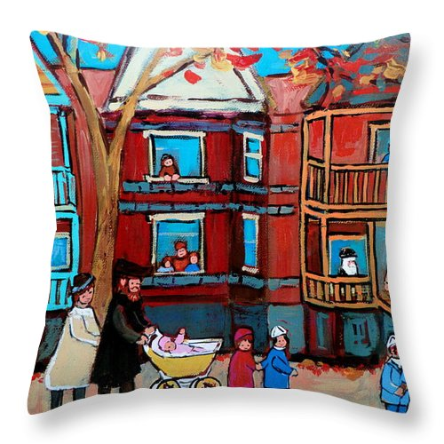 Hassidic Community Throw Pillow featuring the painting Mama Papa And New Baby by Carole Spandau