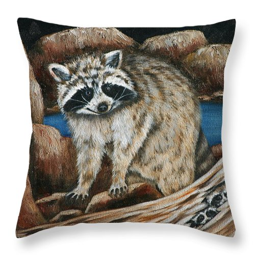 Racoon Throw Pillow featuring the painting Mama Racoon by Ruth Bares