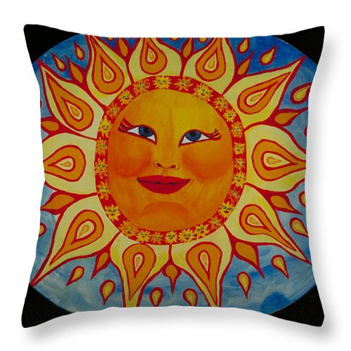 Sun Throw Pillow featuring the painting Mama Sun by J Andrel