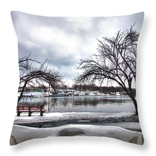 Mamaroneck Throw Pillow featuring the photograph Mamaroneck Harbor In Winter by June Marie Sobrito