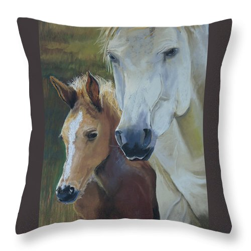 Horses Throw Pillow featuring the painting Mama's Boy by Heather Coen