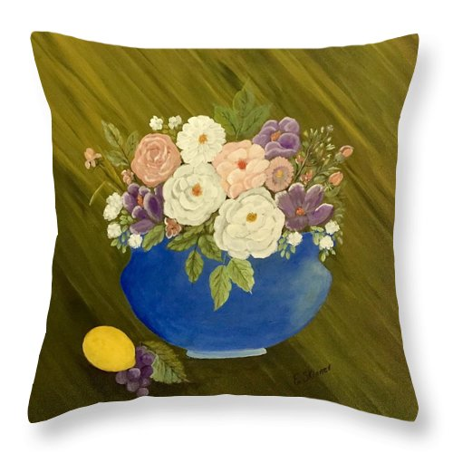 Bowl Throw Pillow featuring the painting Mama's Kitchen Bowl by Evelyn Skinner