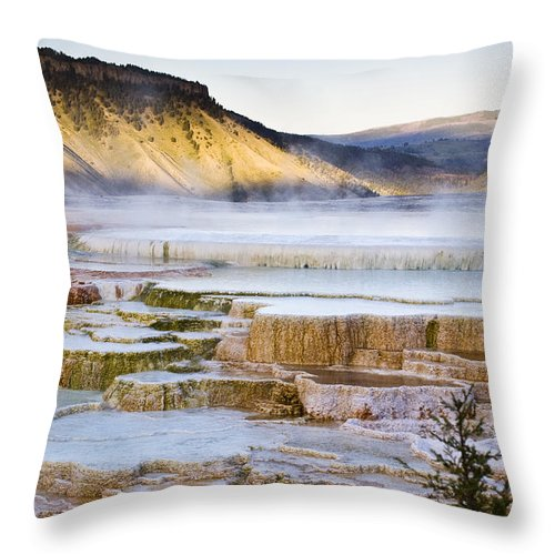 Chad Davis Throw Pillow featuring the photograph Mammoth Hot Springs by Chad Davis