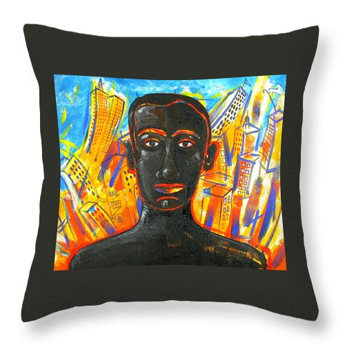 Man Throw Pillow featuring the painting Man and The City by Rollin Kocsis