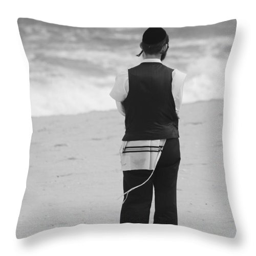 Black And White Throw Pillow featuring the photograph Man And The Sea by Rob Hans