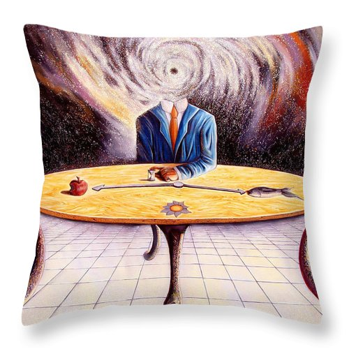Surrealism Throw Pillow featuring the painting Man Attempting To Comprehend His Place In The Universe by Darwin Leon