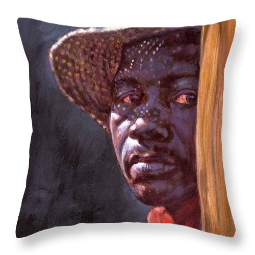 Black Man Throw Pillow featuring the painting Man In Straw Hat by John Lautermilch