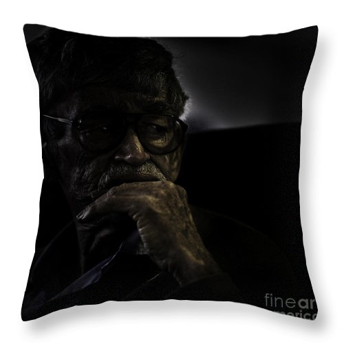 Portrait Throw Pillow featuring the photograph Man On Ferry by Sheila Smart Fine Art Photography