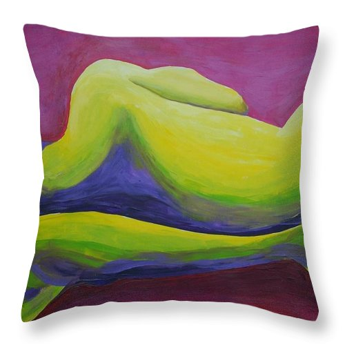 Nude Male Throw Pillow featuring the painting Man On The Side by Randall Weidner