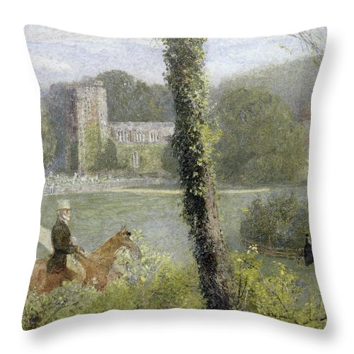 Somerset: Man Riding To His Lady Throw Pillow featuring the painting Man Riding To His Lady by John William North