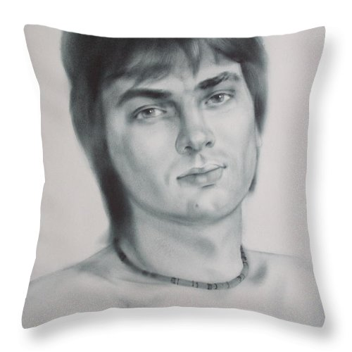 Art Throw Pillow featuring the drawing Man by Sergey Ignatenko