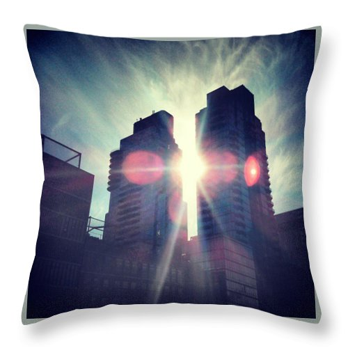 New York Throw Pillow featuring the photograph Man Vs Sun by William North