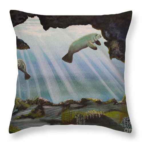 Manatee Throw Pillow featuring the painting Manatee Cave by Kris Crollard