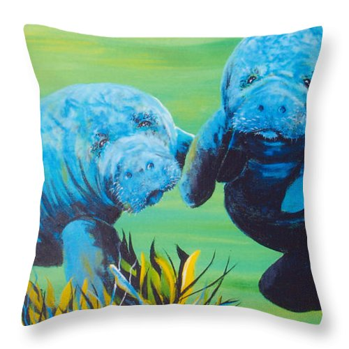 Manatee Throw Pillow featuring the painting Manatee Love by Susan Kubes