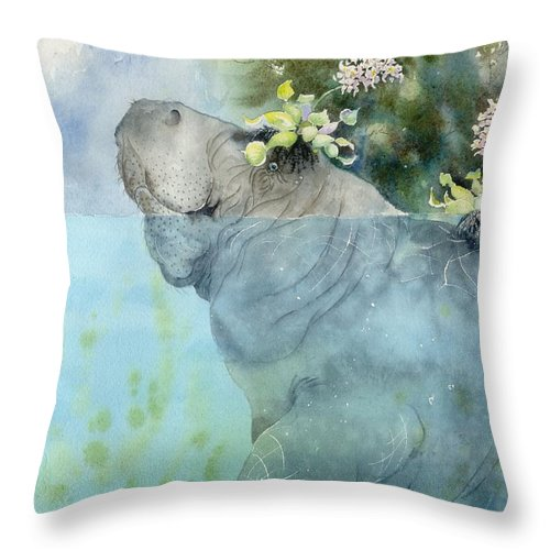 Manatee Throw Pillow featuring the painting Manatees New Hat by Sharon Bowman