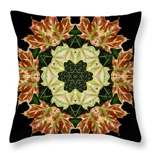 Autumn Throw Pillow featuring the photograph Mandala Autumn Star by Nancy Griswold