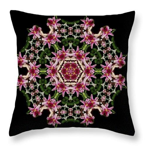 Mandala Throw Pillow featuring the photograph Mandala Monadala Lisa by Nancy Griswold