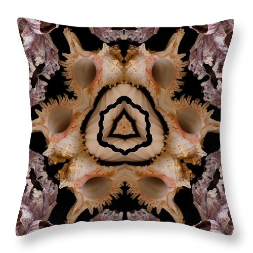 Seashells Throw Pillow featuring the photograph Mandala Murex and Barnacle Shell by Nancy Griswold