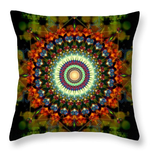 Mandala Throw Pillow featuring the digital art Mandala of Loves Journey by Stephen Lucas