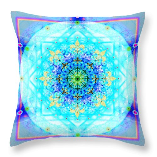 Mandala Throw Pillow featuring the digital art Mandala Of Womans Spiritual Genesis by Stephen Lucas