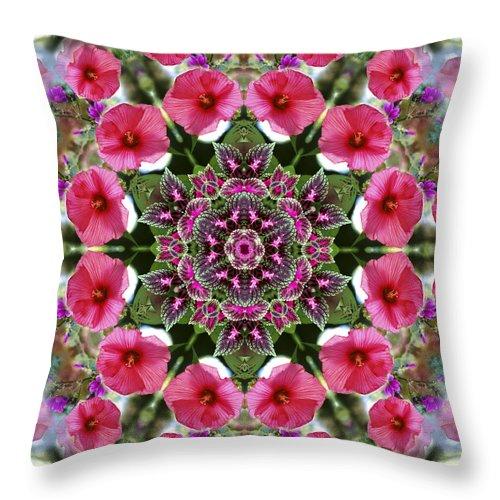 Mandala Throw Pillow featuring the digital art Mandala Pink Patron by Nancy Griswold