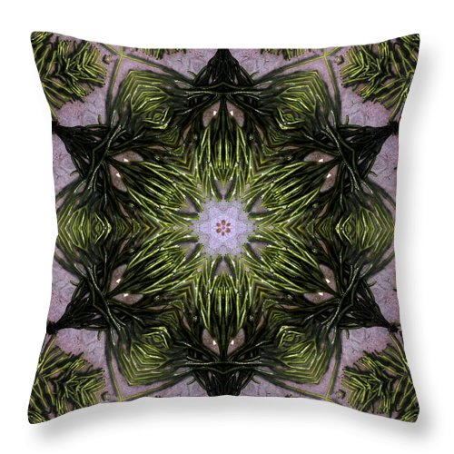 Mandala Throw Pillow featuring the digital art Mandala Sea Sponge by Nancy Griswold
