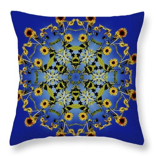 Mandala Throw Pillow featuring the digital art Mandala Sunflower by Nancy Griswold