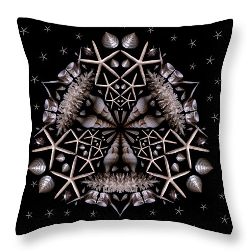 Shell Throw Pillow featuring the photograph Mandala White Sea Star by Nancy Griswold