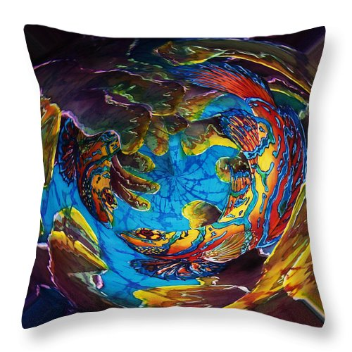 Mandarinfish Throw Pillow featuring the painting Mandarinfish Abyss by Sue Duda