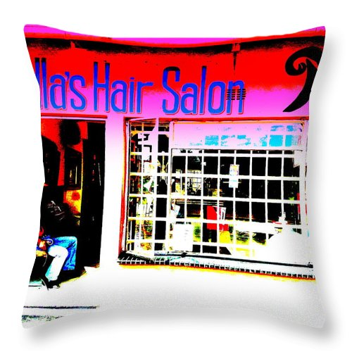 Mandela Throw Pillow featuring the photograph Mandela's Favorite Hair Salon by Funkpix Photo Hunter