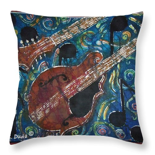Mandolin Throw Pillow featuring the painting Mandolin - Bordered by Sue Duda