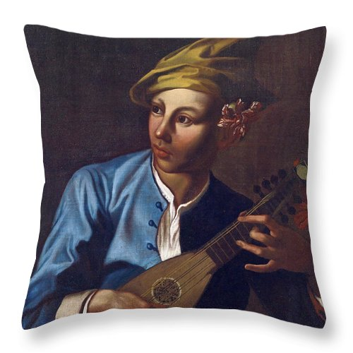 Attributed To Giacomo Francesco Cipper Throw Pillow featuring the painting Mandolin Player by Attributed to Giacomo Francesco Cipper