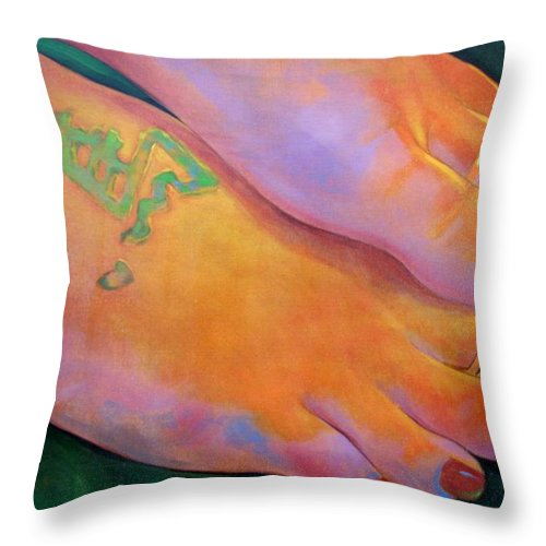 Toes Throw Pillow featuring the painting Mandy Toes Orange by Jerrold Carton