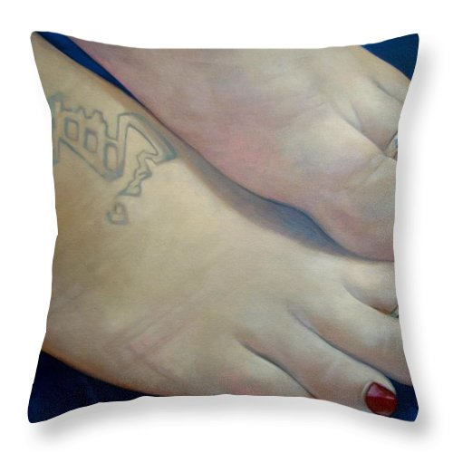 Toes Throw Pillow featuring the painting Mandys Toes by Jerrold Carton